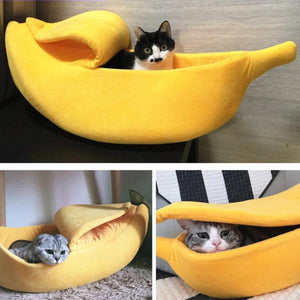 Cat Bed House Cozy Cute Banana Puppy Cushion Kennel Warm Portable Pet Basket Supplies Mat Beds for Cats & Kittens-home-betahavit-betahavit