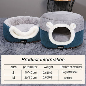 Cat Bed House Soft Plush Kennel Puppy Cushion Small Dogs Cats Nest Winter Warm Sleeping Pet Dog Bed Pet Mat Supplies-home-betahavit-Gray-S 40x40x31cm-betahavit