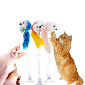 Funny Interactive Pet Cat Toy Luxury Tease Stick Colorful Feather Flexible Toy Color Random Stick Pet Cat Products-home-betahavit-flexible mouse-S-betahavit