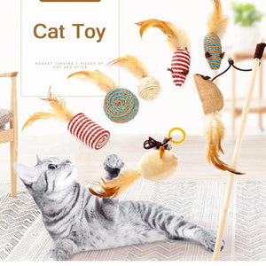 Pet cat toys gatos toy long rods hair mouse funny kitten cat toy set-home-betahavit-one set-one size-betahavit