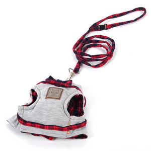 Small Cat Dog Harness Walking Fabric Harness Jacket+Leash Set 2 Size Fashion Design High Quality British Style-home-betahavit-Gray-XS-betahavit