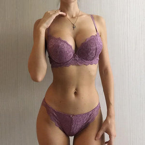 Hot Sexy Push Up Bra Set Brand Deep V Brassiere Thick Cotton Women Underwear Set Lace Blue Embroidery Flowers Lingerie B C Cup-home-betahavit-Lavender-70B-betahavit