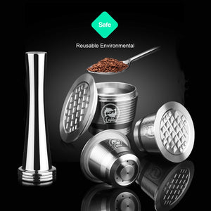 Stainless Metal Refillable Reusable Coffee Capsule Spoon with Clips Tamper For Nespresso Capsule-home-betahavit-betahavit