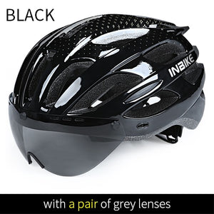 Bicycle Helmets Men Women MTB Road Bike Helmet Ultralight Integrally-mold Cycling Helmet With Glasses Riding Safely Cap-outdoor-betahavit-Black 1 Grey Lens-betahavit