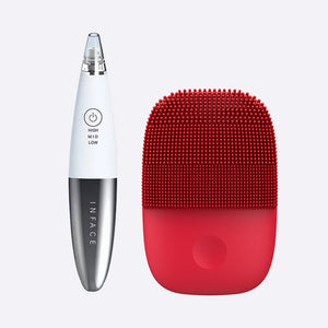 Upgrade Version Facial Cleansing Brush & Vacuum Blackhead Remover Skin Care Pore Acne Pimple Removal-beauty-betahavit-White and Red-China-betahavit