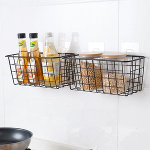 Iron Kitchen Hanging Basket Household Desktop Art Storage Basket Bathroom Storage Box Sundries Wall Organizer Rack +Suction Cup-home-betahavit-betahavit