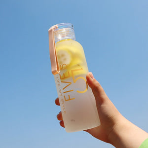 300ml/400ml Frosted Glass Water bottle Healthy Water Container Summer Lemon Water Bottle Drink Bottles Outdoor 47-outdoor-betahavit-0.48L-FIVE-betahavit