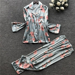 2 Piece Autumn Women Faux Silk Satin Pajamas Set Printed Long Sleeve Sleepwear Pajamas Suit Female Sleep Homewear-home-betahavit-01-XL-betahavit