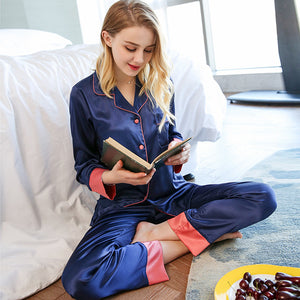 2 Piece Spring Summer Women Faux Silk Satin Pajamas Set Long Sleeve Sleepwear Pajamas Suit Female Sleep Homewear-home-betahavit-1-XXL-betahavit