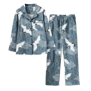 2 Pieces Crane Women Pajamas Set Cotton Animal Lapel Elegant Printing Lapel Soft Long Sleeve Spring Autumn Sleepwear-home-betahavit-01-M-betahavit