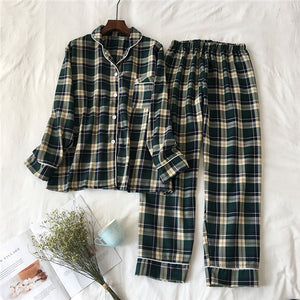 2 Pieces Pajamas Set Cotton Plaid Women Leisure Printing Soft Long Sleeve Trousers Spring Autumn Sleepwear Homewear-home-betahavit-02-M-betahavit