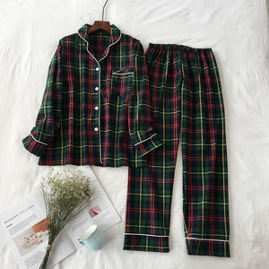 2 Pieces Pajamas Set Cotton Plaid Women Leisure Printing Soft Long Sleeve Trousers Spring Autumn Sleepwear Homewear-home-betahavit-01-M-betahavit
