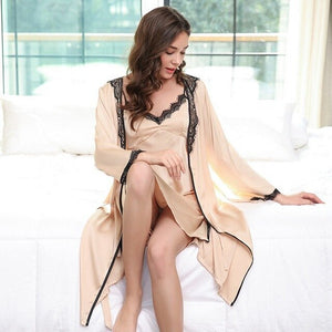 2 Pieces Faux Silk Women Robe Set Hot Spring Sexy Lace Nightgowns Women Sleepwear Dress Woman Pajamas Bathrobe-home-betahavit-02-XL-betahavit