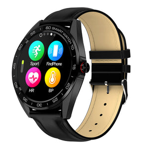 "IP68 Waterproof Smart Watch 1.3"" Full Touch Round Screen Heart Rate Sleep Monitor Sport Smartwatch Fitness Tracker-outdoor-betahavit-black leather-betahavit"