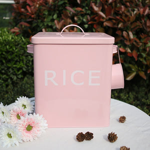 Kitchen Bathroom Storage Box 10L Grain Rice Container Coating Metal Zinc Laundry Powder Boxes Storage Bin Bread Tin with Scoop-home-betahavit-betahavit