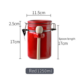 Kitchen Ceramic Seal With Lid Cocoa Coffee Powder Storage Storage Tank Free Gift Spoon Creative Popular Design Porcelain Beauty-home-betahavit-red-XL-betahavit