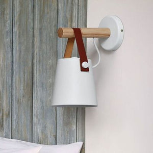 LED Wall Light Wood Wall Lamp Bed Bedside Light Night Lights Modern Nordic Lampshade Home Decor White & Black Belt E27 85-265V-home-betahavit-White No Bulb-betahavit