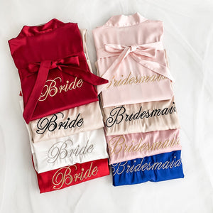 1 Pcs With Belt Bride Robe Wedding Bridesmaid Embroidery Letter Bathrobe-home-betahavit-betahavit