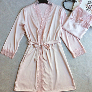 2 Pcs Sexy Lace Women Robe Set Nightdress+Robe Women Pajamas Elegant Women Cardigans-home-betahavit-Pink-L-betahavit