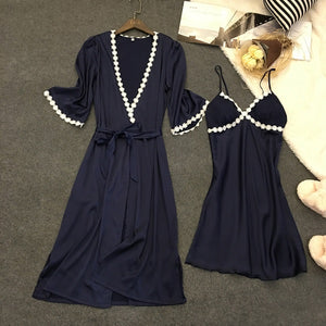 2 Pcs Sexy Spaghetti Strap Women With Cup Robe Sets Nightgown+Robe Women Pajamas Elegant Women Homewear-home-betahavit-Navy-L-betahavit