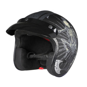 Motorcycle Open Half Face Helmet Scooter Retro Vintage DOT 3/4 Cycling ABS Security Helmet Unisex Fashion-outdoor-betahavit-Dancing Black-L-betahavit