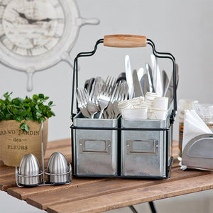 Multiple Usage Wood Handle Handmade Wire Basket Caddy With 4 Galvanized Zin boxes Kitchen Racks Desktop Tableware Storage Basket-home-betahavit-betahavit