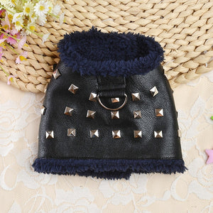 No Pull Leather Dog Harness Warm Fleece Padded Cat Pet Puppy Harness Winter Coat Jacket Vest for Small Dogs Chihuahua Yorkshire-home-betahavit-Black-12-betahavit