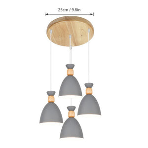 Nordic Pendant Lamp Solid wood postmodern Hanging Lights gourd Pendant Lights Simple restaurant lamp wrought iron macaron Lights-home-betahavit-Disc Gray 4 Lights-betahavit
