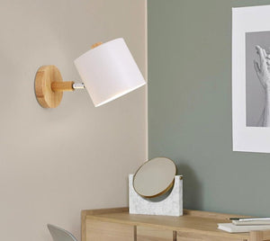 Nordic wall lamp creative macaron Simple cylindrical bedroom lamp Iron lampshade + solid wood base E27 electric light socket-home-betahavit-betahavit