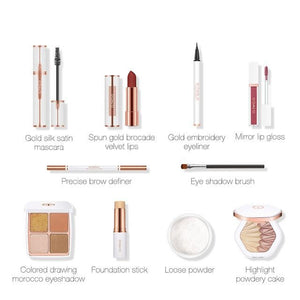 10pcs/lot Cosmetic Kit Include Eyeshadow Highlighter Eyes Makeup Loose Powder Lipstick Lip Gloss-beauty-betahavit-10pcs-betahavit