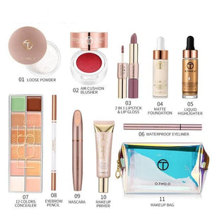 11pcs Makeup Set For Daily Use Include Highlighter Foundation Blusher Eyebrow Mascara Concealer Lipstick For Women Gift-beauty-betahavit-makeup kit-CHINA-betahavit