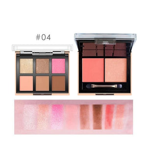 2 In 1 Eyeshadow Palette 6 Color + Blush Powder 2 Color Easy To Wear Pigment Makeup Kit For Daily Use-beauty-betahavit-9982-4-betahavit