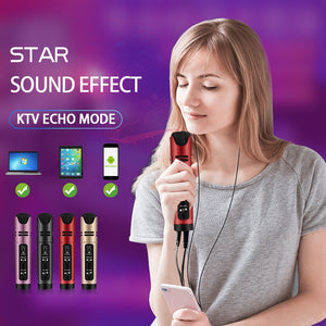Online Star Live Streaming & Youtube Video Condenser Microphone Sing Recording Karaoke For Mobile Phone Computer Support 6 Voice-electronic-betahavit-betahavit