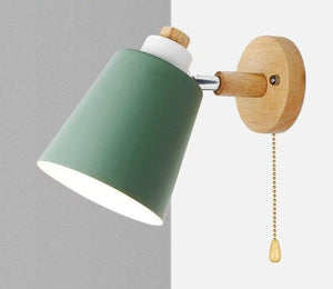 Nordic Wall Lamp With Switch Iron Wall Lamp E27 Macaroon Color Wall lamp Led Light For Bedroom Sconce With Pull Switch-home-betahavit-Green with Switch-betahavit