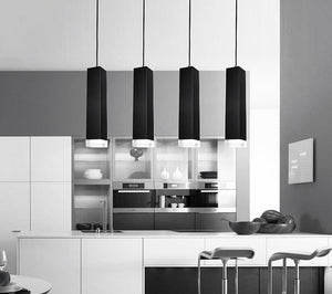 Pendant Lights White and Black square Long tube single head Pendant lamp Acrylic lamp head Aluminum housing Decorative lighting-home-betahavit-betahavit