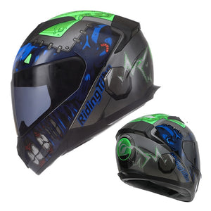 Personality Dirt Bike Four Seasons Street Racing Protect Full Face Motorcycle Helmet with Removable Winter Neck Scar-outdoor-betahavit-Experimenter-Green-L-betahavit