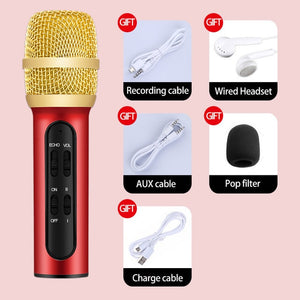 Portable Professional Karaoke Condenser Microphone Sing Recording Live Microphone For Mobile Phone Computer With ECHO Sound Card-electronic-betahavit-Red-betahavit
