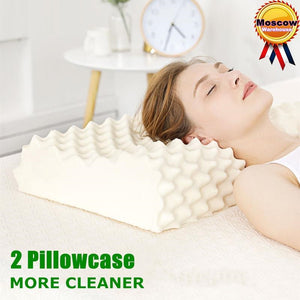 60x38 Thailand Pure Natural Latex Orthopedic Pillow Neck Cervical Protective Spine Massage Remedial Body Pillows-home-betahavit-betahavit