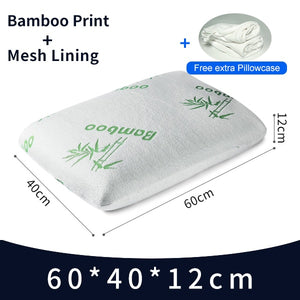 60x40x11 Thailand Natural Latex Orthopedic Massage Pillow Neck Cervical Spine Protected Remedial Big Vertebrae Pillow-home-betahavit-Bamboo Print-60x40x11cm-China-betahavit