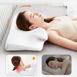 13cm Contour Memory Foam Cervical Pillow Orthopedic Neck Pain Pillow for Side Back Stomach Sleeper White Case Pillows-home-betahavit-betahavit