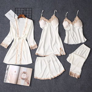 5 Pieces Sets Women Pajama Set Sexy Lace Satin Sleepwear Women Pajamas for Women Pijama Pyjama Casual Sleep Lounge-home-betahavit-White-M-betahavit
