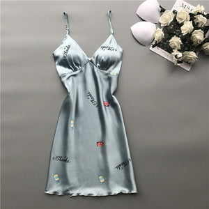 Satin Sleepwear Women Nightwear Nightdress Chest Push Up Summer Nightgown Ladies Night Wear Nighties for Women Sleep Wear-home-betahavit-Blue Candy-M-betahavit