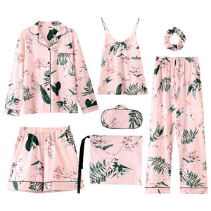 Sleep Lounge Princess Style Pajamas Women Cotton Autumn Ladies 7 Piece New Leaves Print Pajamas-home-betahavit-Leaf-M-betahavit