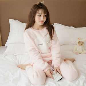Sleepwear Women Pajamas Sets Winter Warm Ladies Pyjamas Round Neck Pijamas Mujer Women Thick New Home Clothes-home-betahavit-19 Peach-M-betahavit
