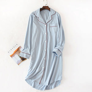 Woman Night Sleepwear New Sleep Dress Nightgown Cotton Women Nightwear Nightdress Long Sleeve Nighty for Ladies-home-betahavit-Blue-L-betahavit