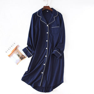 Woman Night Sleepwear New Sleep Dress Nightgown Cotton Women Nightwear Nightdress Long Sleeve Nighty for Ladies-home-betahavit-Navy Blue-L-betahavit