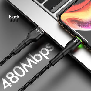 3.1A Hi-Tensile USB Cable For Apple iPhone 11 X XS 8 7 6 Plus Fast Charger Data Cable Charge Sync 100CM 200CM-electronic-betahavit-China-Black With LED Light-50cm-betahavit