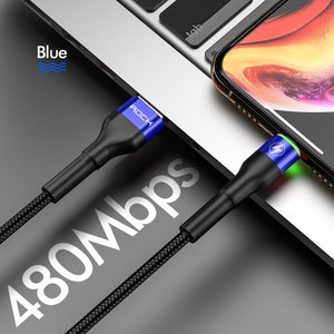 3.1A USB Cable For iPhone 11 Pro Max Xs Xr X 8 7 6 Plus 6s ipad Fast Charging Sync Data Wire Mobile Phone Charger Cord-electronic-betahavit-Blue With LED Light-200cm-betahavit