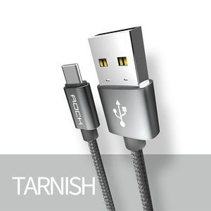 3A 3.0 Type C Cable for Xiaomi Samsung Galaxy S8 OnePlus Nexus Nylon braid Charge Sync USB C Fast Charging USB-C Charger-electronic-betahavit-Grey-20cm-betahavit