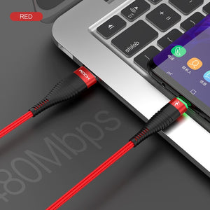 3A LED Light USB Type C Cable For Xiaomi Redmi Note 7 Samsung Galaxy Huawei P30 Pro Fast Charging USB Type-C USB-C Cable-electronic-betahavit-China-Red With LED Light-2m-betahavit